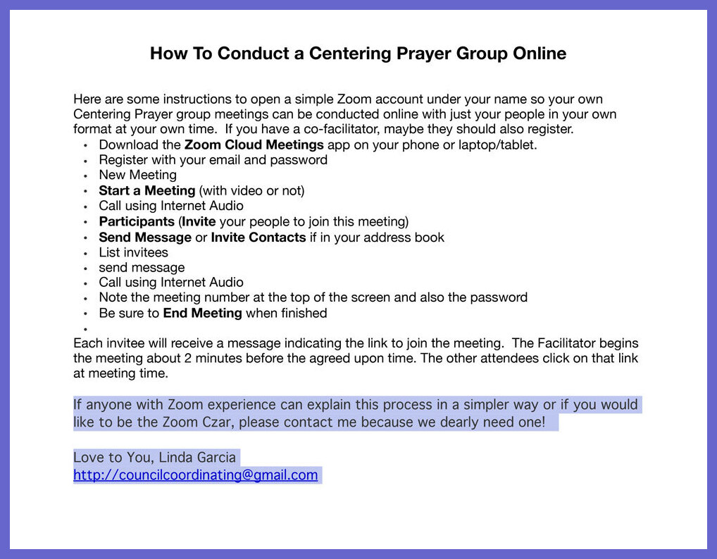 How to Conduct a Virtual Centering Prayer Group