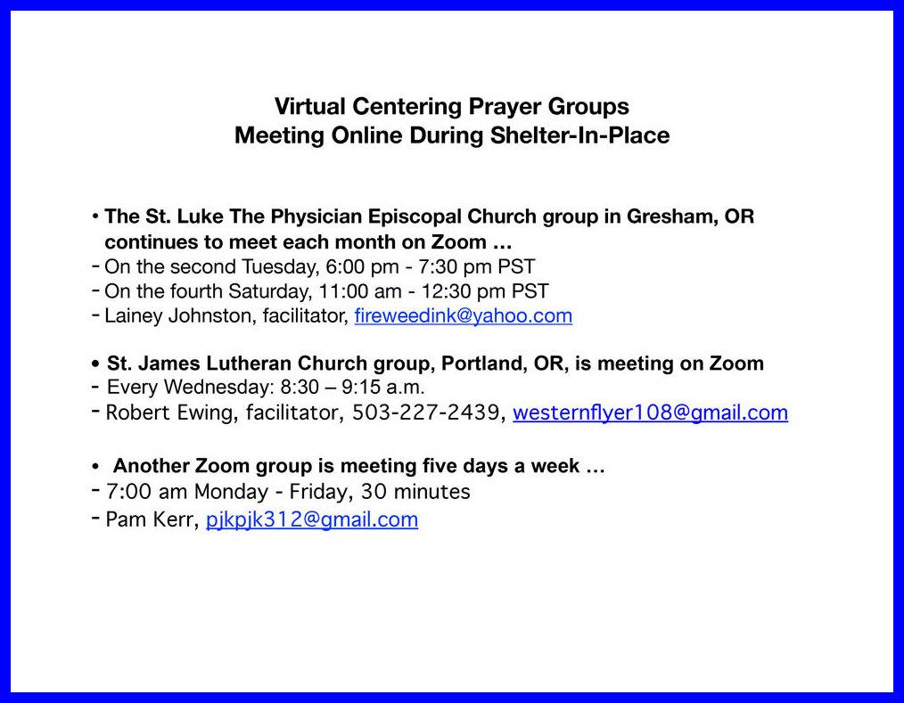 Virtual Centering Prayer Groups